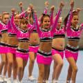 Optreden tijdens de 1e voorronde DCA NK Cheerleading gehouden in de Sportstad op 2 February 2014 in Heerenveen.